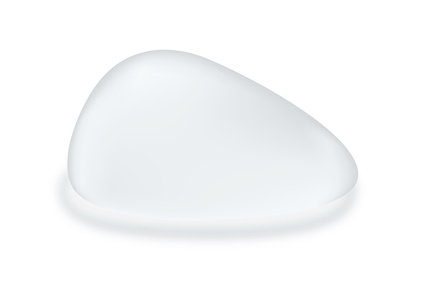 Silicone breast textured teardrop shape isolated on white background. Vector object about cosmetic surgery.